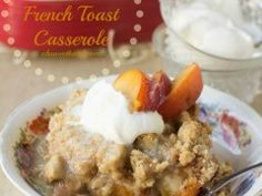 This Peach Cobbler French Toast Casserole is seriously the perfect breakfast to celebrate such a lovely, luscious fruit. It's full of sweet bread, saucy peaches and a crumb topping that will have you begging for more. Cinnamon Roll French Toast, French Toast Bake, French Toast Casserole, Breakfast Casserole, Perfect Breakfast, Breakfast Time, Brunch Recipes, Breakfast Recipes, Breakfast Ideas