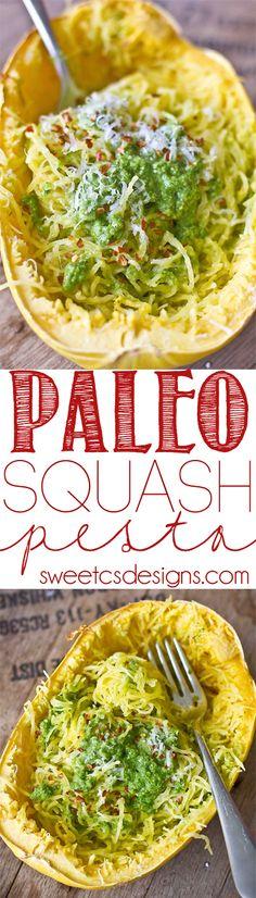 Paleo Squash Pesto- a great vegetarian paleo pasta alternative recipe! Easy and indulgent!