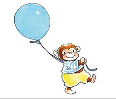 Fotobehang Sweet Collection - Monkey with a Balloon