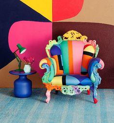 Proust Geometrica, designed by Alessandro Mendini, boasts a vivid Geometric design. http://www.utilitydesign.co.uk/cappellini-proust-geometrica-armchair