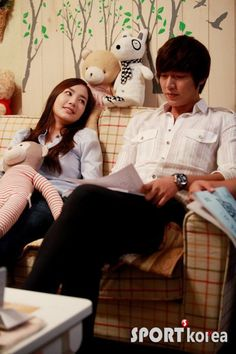 City Hunter- behind the scenes.  The way she looks at him....awww