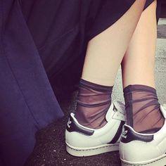 Darner Solid Black Mesh socks - Darner Socks