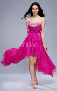 Beading,Crystals,Floral,Cascading Ruffle Fuchsia A-line Asymmetrical Strapless Dress £62.00