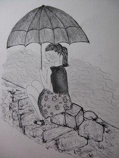 """Ilustración"""" china con paraguas"""", técnica tinta china."""
