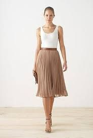 Women's, Men's & Kid's Clothing & Homewares Love the ladylike look of this outfit (long pleated skirt, simple tank, nude shoes). Skirt Outfits, Dress Skirt, Pleated Skirt Outfit Midi, Beige Skirt Outfit, Fashion Week, Fashion Outfits, Khaki Skirt, Tan Skirt, Nude Shoes