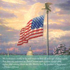 "Sunday Inspiration. ""Share the Light"" ""America's Pride"" – Thomas Kinkade – 2003  #thomaskinkade #sundayinspiration #inspirationalquote #patriotic #presidentsday"