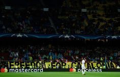 Fans display a Freedom for Catalonia banner during the UEFA Champions League group D match between FC Barcelona and Olympiakos Piraeus at Camp Nou on October 18, 2017 in Barcelona.