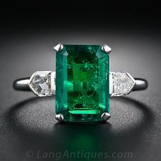 2.77 Carat Emerald and Bullet-Cut Diamond Art Deco Ring - 30-1-4218 - Lang Antiques
