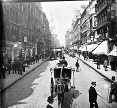 ++ Cheapside ,1892 ++  Those people of a century ago occupy these streets of old London eternally. The pictures have frozen their world forever and, walking in these same streets today, my experience can sometimes be akin to that of a visitor exploring the backlot of a film studio long after the actors have gone. BY http://spitalfieldslife.com/2012/11/23/the-streets-of-old-london/