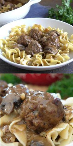 Beef And Mushroom Recipe, Beef Gravy Recipe, Roast Beef Recipes, Mushroom Gravy, Beef Meals, Meatballs And Egg Noodles Recipe, Beef And Noodles, Ground Beef Meatballs, Salisbury Steak Meatballs