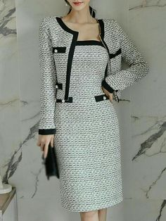 Work Two Piece Stitching Jumper Coat Bodycon Dress – DressSure Modest Dresses, Casual Dresses, Short Dresses, Fashion Dresses, Dresses For Work, Mode Vintage, Style Vintage, Work Fashion, Classy Outfits