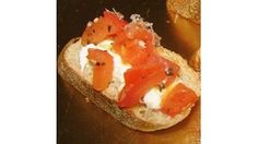 This yummy bruschetta recipe is for anyone who likes feta cheese and tomatoes, and is great for dinner parties. Assemble while the ingredients are still warm so the mozzarella will melt slightly.