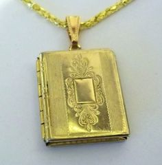 Vintage Goldtone Square Locket Pin Book Motif