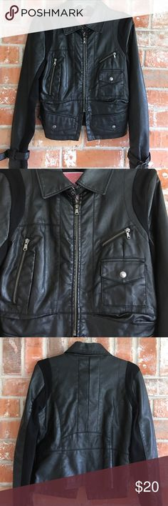 "Cute Faux Black Leather Jacket My granddaughter loved this jacket💕💕 it's in great condition. No rips stains or tears. I am listing it as a Jr. small because that's the size she was when wearing it but you can use measurements to decide. It could fit a woman's small as well. It measures 18"" underarm to underarm and is 21"" long. Soooo cute. The brand says collection. Collection Jackets & Coats"