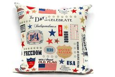 4th of July Pillow Case  18 x 18inch Decorative pillow by Lilach Oren on Etsy