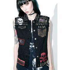 Tripp NYC Patch Studded Vest ($78) ❤ liked on Polyvore featuring outerwear, vests, black, leopard print vest, denim vest, embroidered vest, patched denim vest and leopard vest