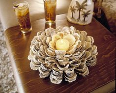 Oyster Shell centerpieces....I have ALWAYS wanted to make one of this, ever since seeing it in a gift shop for $120!!  I have the oysters AND the time on this rainy day :)