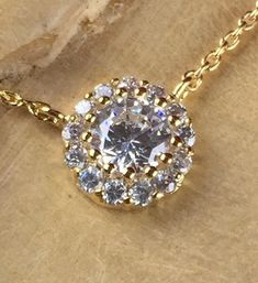 (Italian) White Zircon Encrusted Halo Necklace N1639-GD|We combine shipping|No Question Refunds|Bid $60 for free shippingN1639-GD. Starting at $1