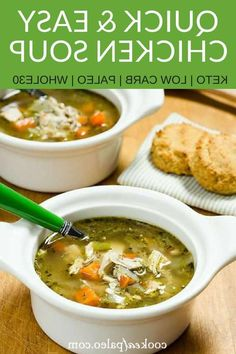 Need chicken soup in a hurry? Try this quick chicken soup recipe made with rotisserie chicken. It's a great easy alternative to slow cooker chicken soup. This healthy homemade chicken soup is the perfect remedy for colds. And it's AIP dairy free gluten free keto low carb paleo and Whole30-friendly! -- #cookeatpaleo #chicken #chickensoup #keto #whole30 ... to a simmer. Meanwhile whirr cauliflower cream cheese egg yolks and heavy cream in blender. Add to stock mixture and gently simmer until… Low Carb Chicken Soup, Homemade Chicken Soup, Chicken Skillet Recipes, Slow Cooker Chicken, Low Carb Salad Dressing, Dairy Free, Gluten Free, Low Fat Cheese, Low Carb Peanut Butter