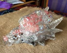 Orgonite Dragon, Pink Tourmaline, Aqua Aura beads, Lavender Tibetan Crystal, 40 ounces, Love Dragon by FaesBlueMoon on Etsy