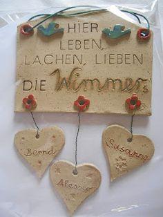 Kreativwerkstatt-Tattendorf: A nice wedding present: – Famous Last Words Ceramic Wall Art, Ceramic Pottery, Ceramics Projects, Craft Projects, Biscuit, Clay Tutorials, Paper Mache, Clay Art, Presents