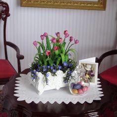 Dollhouse Miniature Spring Tulips Pink Flowers Planter Garden Kiki Bean OOAK IGMA Not a kit 1:12 by KikiBeanMinis on Etsy on Etsy now $36.99
