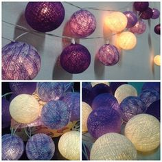 20 Mix Purple Tone Cotton Ball String Lights Wedding Party Floral Home Decoration