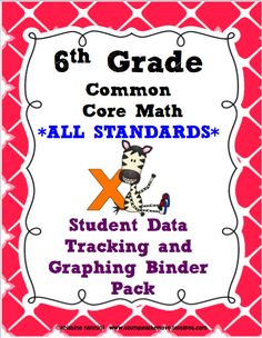 6th Grade Common Core Data Tracking Binder Pack for ALL STANDARDS!! So easy for your kids to track their learning, included is a rubric/poster pack (Marzano's 4 levels of understanding)