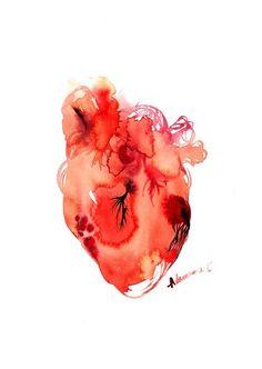 Anatomical Heart watercolor painting digital by AlisaAdamsoneArt Painting & Drawing, Watercolor Paintings, Thrasher, Chicano, Jr Art, Watercolor Heart, Heart Painting, Anatomical Heart, Human Heart