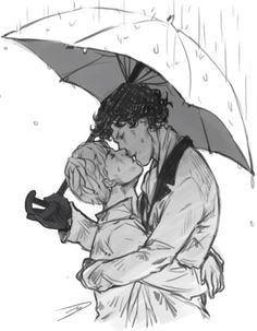 Sherlock and John kissing in the rain by BUTT THEN