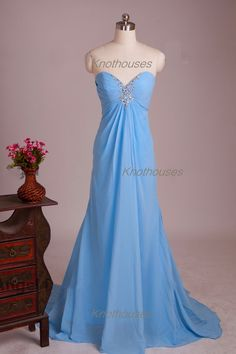 Sweetheart Blue beaded Long Chiffon prom dress with sweep train  This dress can be custom made, both size and color can be custom made. Custom size and color made will charge for no extra. If you need a custom dress, please send us messages for your detail requirements.  For custom size, we w...