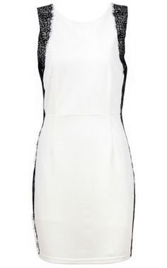 £22.40    http://www.pussycatlondon.com/latest-fashion-clothing-1/white-fitted-dress-with-black-lace-trim.html?color=White=8