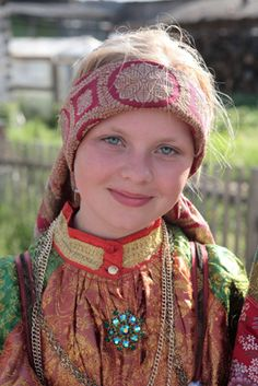 Young lady from Ust-Tsilma, Russia. Ust-Tsilma is a rural locality of the Komi Republic, Russia, located where the Tsilma River enters the Pechora River.