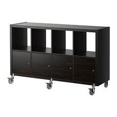KALLAX Étagère/4 portes/roulettes, brun noir - 147x89 cm - IKEA