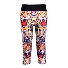 Capris Sports Leggings High Waist Animal Printing Pants Lady's Fitness Workout Casual Pants Gym Wear