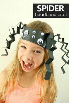 Spider Headband Craft Halloween Activity for Kids #preschool #halloween #kindergarten #kidscrafts