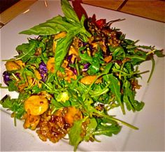 Mushroom  Brown Rice and Arugula Salad Recipe - using leftovers from Thai takeout!