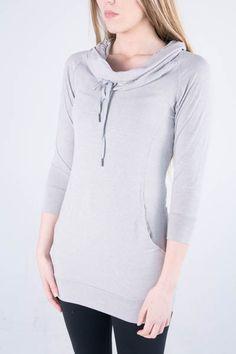 Zobha's Helen Cowl Neck Tunic in Grey #activewear #grey #hoodie #fashion
