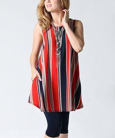Red Stripe Side-Pocket Swing Tunic