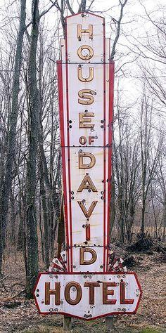 House Of David (Benton Harbor) Neon Hotel Sign - Now @ The HOD Museum In Riverside, Michigan | by randomroadside