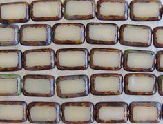 12x8mm Opaque Vanilla Cream Picasso Edged Table by beadsandbabble