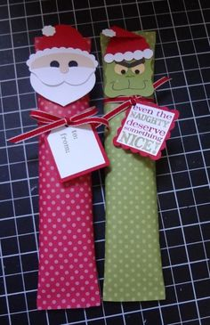 Great tutorial - also tells the candy bars you can use - Beth's Paper Cuts: How to: Santa and Grinch