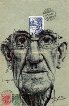 bic biro on 1903 german envelope by mark powell bic biro drawings. - More work by Mark Powell, I like this. The detail of the biro is intriguing Biro Drawing, Painting & Drawing, Mail Art, Mark Powell, Illustration Art, Illustrations, Graffiti Artwork, Envelope Art, Art Graphique