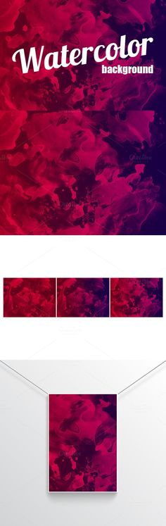 Watercolor painted red background. Textures. $5.00