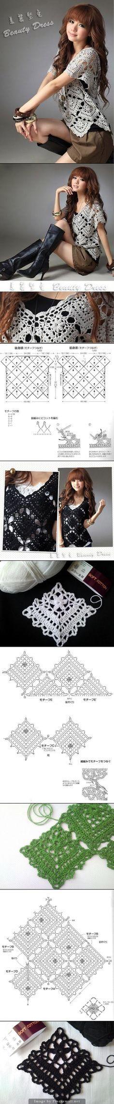 Captivating Crochet a Bodycon Dress Top Ideas. Dazzling Crochet a Bodycon Dress Top Ideas. Crochet Bolero, Pull Crochet, Gilet Crochet, Crochet Motifs, Crochet Diagram, Crochet Squares, Crochet Cardigan, Love Crochet, Beautiful Crochet