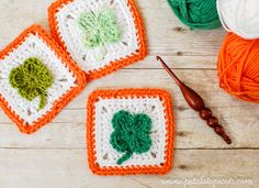 Free #crochet pattern: Clover Afghan Square by Petals to Picots