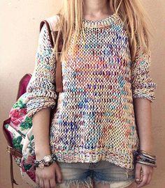 Knitting Color Sweater Coat on Luulla
