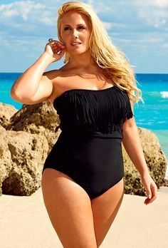 Swim Sexy Black Plus Size Fringe Bandeau/Halter Swimsuit