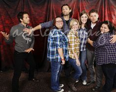 """""""Misha's not wearing plaid!"""" Though I don't think Jensen is either so poor Misha."""