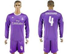 Real Madrid #4 Sergio Ramos Away Long Sleeves Soccer Club Jersey